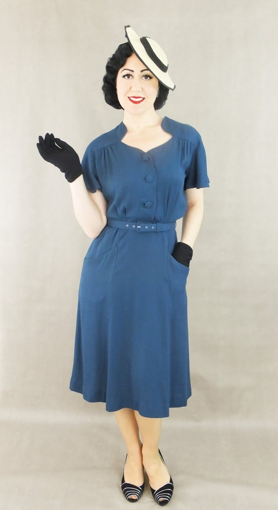 1930s Day Dresses, Afternoon Dresses History Vintage 1930s 1940s  rayon dress / Darla / Authentic vintage reproduction  /Navy blue crepe 30s 40s dress / XS S M L Xl / Made to order $262.67 AT vintagedancer.com