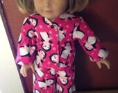 "Pink Penguin Flannel Pajama Set  American Girl Doll PJs - Fits 18"" Dolls"