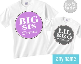 Big sis lil bro shirt set. Can also be made to say big sis little brother