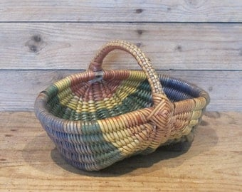 vintage French Handle Rainbow plastic wicker basket