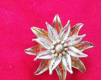Vintage Filigree Flower Pin