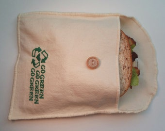 Reusable Organic Cotton Sandwich / Snack Bag