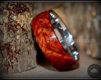 "Bentwood Ring - ""Rarity"" Amboyna Burl Wood Ring with Titanium Steel Comfort Fit Metal Core"