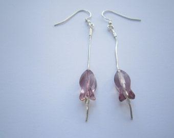 Long Pink Silver Dangle Earrings Antique Pink Swarovski Fish Earrings Statement Earrings Mother's Day Gift
