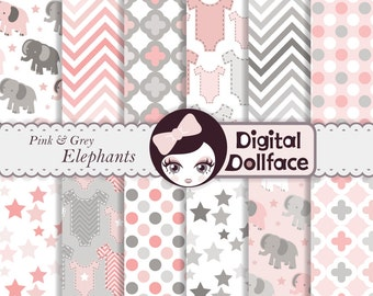 Baby Girl Digital Paper, Pink and Grey Elephant Scrapbook Paper, Baby Shower