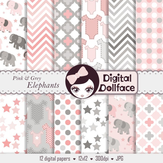 Baby Girl Digital Paper Pink And Grey Elephant Scrapbook Paper