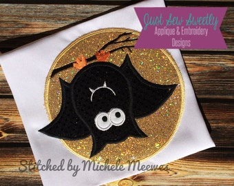 Cute Bat Halloween Applique Design - Embroidery Machine Pattern