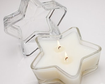 Classic vanilla scent mixed with ylang-ylang and other mesmerizing oils in 6-inch star-shaped glass you get to keep. Makes a dreamy gift.