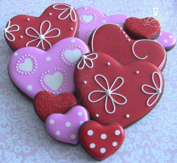 One Dozen (12) Large and 6 Mini Heart Themed Chocolate Decorated Sugar Cookies for Valentine's Day