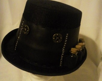 Steampunk / Victorian Felt and Leatherette Top Hat with a 4 glass bottle Bandoleer