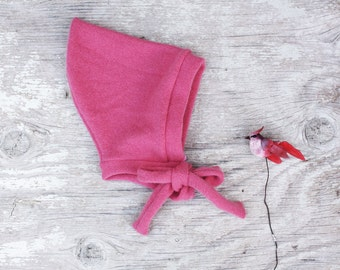 Baby Cashmere hat, Pixie hat for baby girl in rose, sizes 0 to 12 month