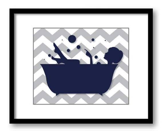 Bathroom decor bathroom print navy blue and grey girl in a for Blue and gray bathroom accessories