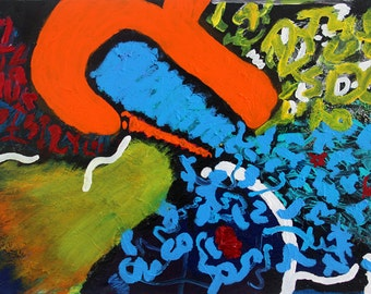 Original 120x80cm abstract freestyle painting named Halcyon #4
