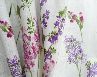 Natural linen valance - Window valance - Cafe curtains - White linen with pink, lilac flowers