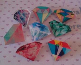 8 x diamond resin brooch, punk rocker