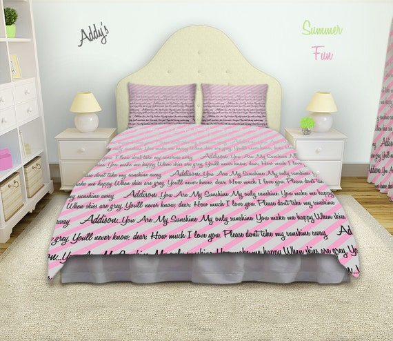 items similar to pink and gray bedding striped bedding girls personalized bedding customized. Black Bedroom Furniture Sets. Home Design Ideas