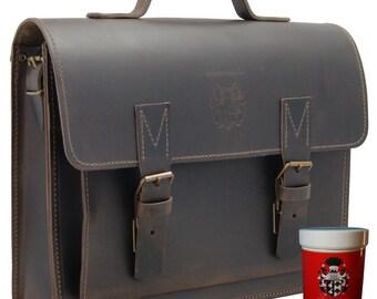 Briefcase Laptopbag FRAUNHOFER brown leather Made Germany