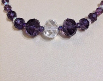 Crystal necklace, purple with clear accents