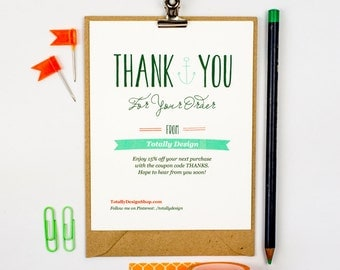 Business Thank You Card INSTANT DOWNLOAD - Deeply Nautical