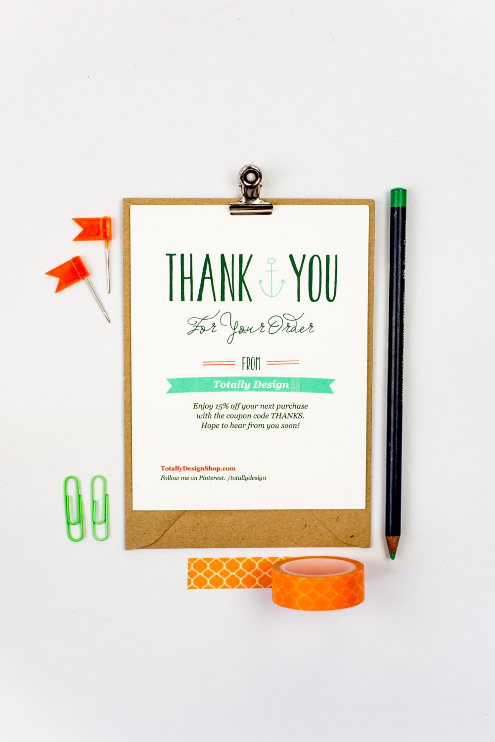 Business Thank You Card INSTANT DOWNLOAD Deeply Nautical