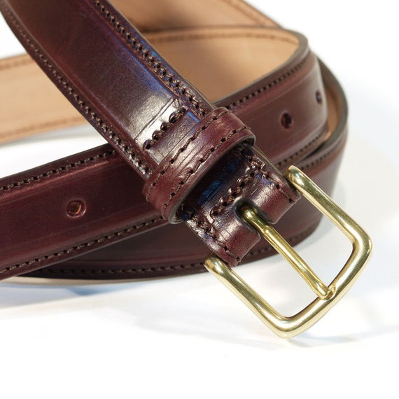Genuine Shell Cordovan Leather Belt width 30 mm. 1,15 inches colour Burgundy