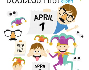 Silly April Fool's Day Clipart Digital Clip Art for Scrapbooking Card Making Cupcake Toppers Paper Crafts