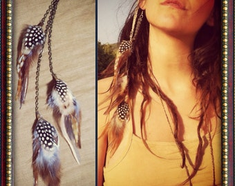 TRIBAL Exotic FEATHERS-SINGLE earring gipsy jewelry feather earring