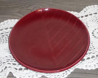 Rorstrand collectible Plate Maroon Leaf Shape Swedish Vintage @67