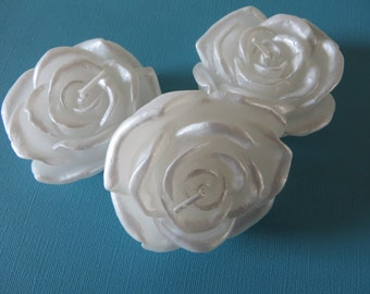 """White Rose Floating Candle -  Satin Finish - unscented - 3"""" in diameter"""