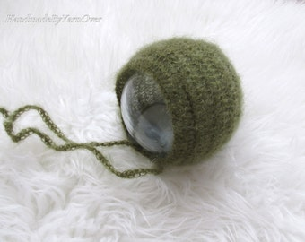 Match from 24 colors.Crochet  Olive / Army green Mohair Bonnet. -Newborn Photography Props- Baby Crochet Mohair Hat