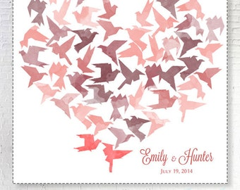 Wedding Guestbook birds in love_Alternative guestbook_Home decor_blush_Wedding Guest book_Choose your color and number of hearts