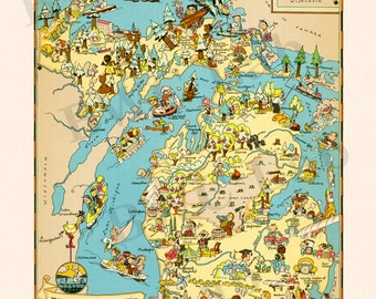 Pictorial Map of Michigan - colorful fun illustration of vintage state map