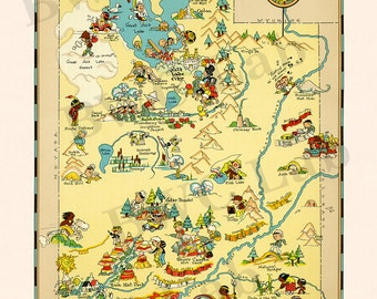 Pictorial Map of Utah - colorful fun illustration of vintage state map