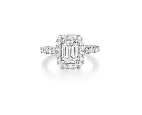 Emerald Cut Diamond Engagement Ring 1.47 Carat Platinum - FREE US SHIPPING