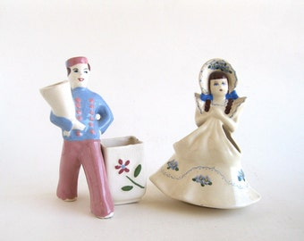 California Figurgal Vases Flower Girl and Delivery Boy