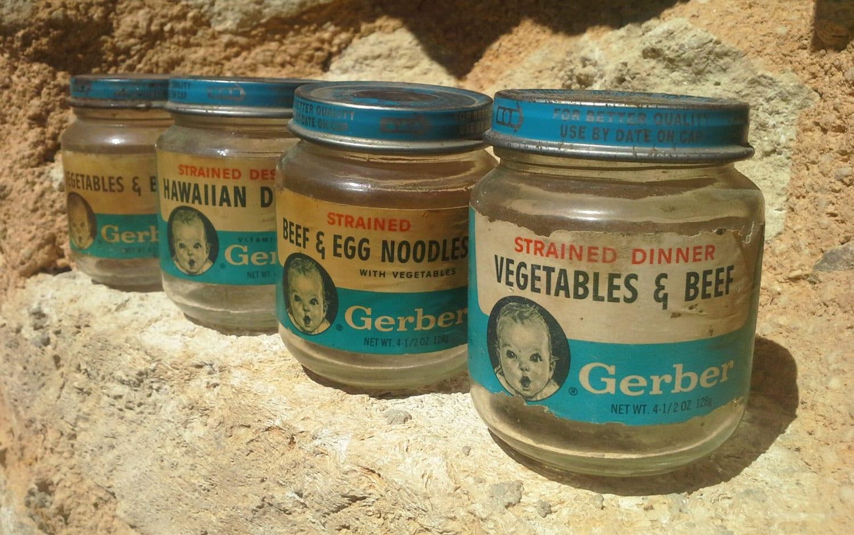gerber baby food rustic glass jar old miniature jar food. Black Bedroom Furniture Sets. Home Design Ideas