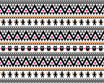 Black magenta and orange owl tribal pattern craft  vinyl sheet - HTV or Adhesive Vinyl -  Aztec Peruvian pattern Halloween  HTV314