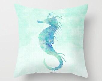 Seahorse Pillow Case, Nautical Home Decor, Beach Art, Nursery Art, Seahorse Pillow Cover, Decorative Pillow Case, Watercolor Seahorse
