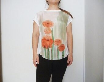 Floral silk Top,Blouse silk,Unique clothing, Silk hand painted,Loose white blouse,Silk tee