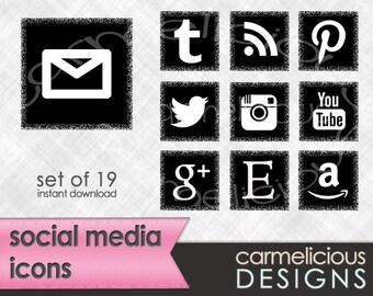 Black Social Media Icons - Set of 19 for Blog or Website