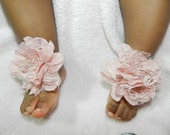 Baby ribbon sandals- pink shoes - pink baby shoes- barefoot sandals- stretchy - ribbon- photo prop- baby