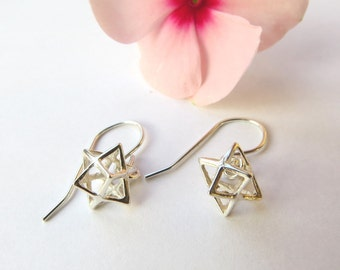 3D Magen david earrings, silver star earrings, merkaba earrings, star of david earrings, 3D star earrings, kabbalah jewelry