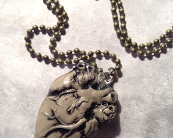 Brown Anatomical heart polymer clay charm
