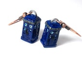 SALE - Doctor Who inspired TARDIS police box earrings