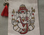 Red and Gold Ganesha.  Bag of organic cotton, silk tassel, bell and Om. Medium Size