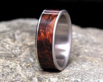 Honduran Rosewood Burl Wood Inlay Titanium Wood Wedding Band or Ring