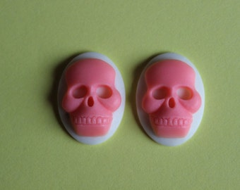 25x18mm Unset Pink Skull Cameo Set of 2