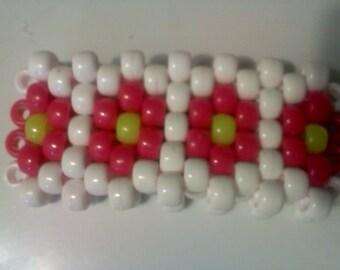 Pink and Yellow  Daisy Kandi Mini Cuff Bracelet  Ready for EDC