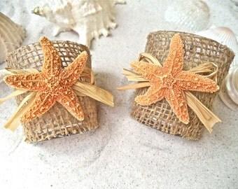Starfish Votive Holder - Beach Votive. So cute!  Little sugar starfish with raffia on burlap. Gorgeous when lit.   Set of 2 or 5