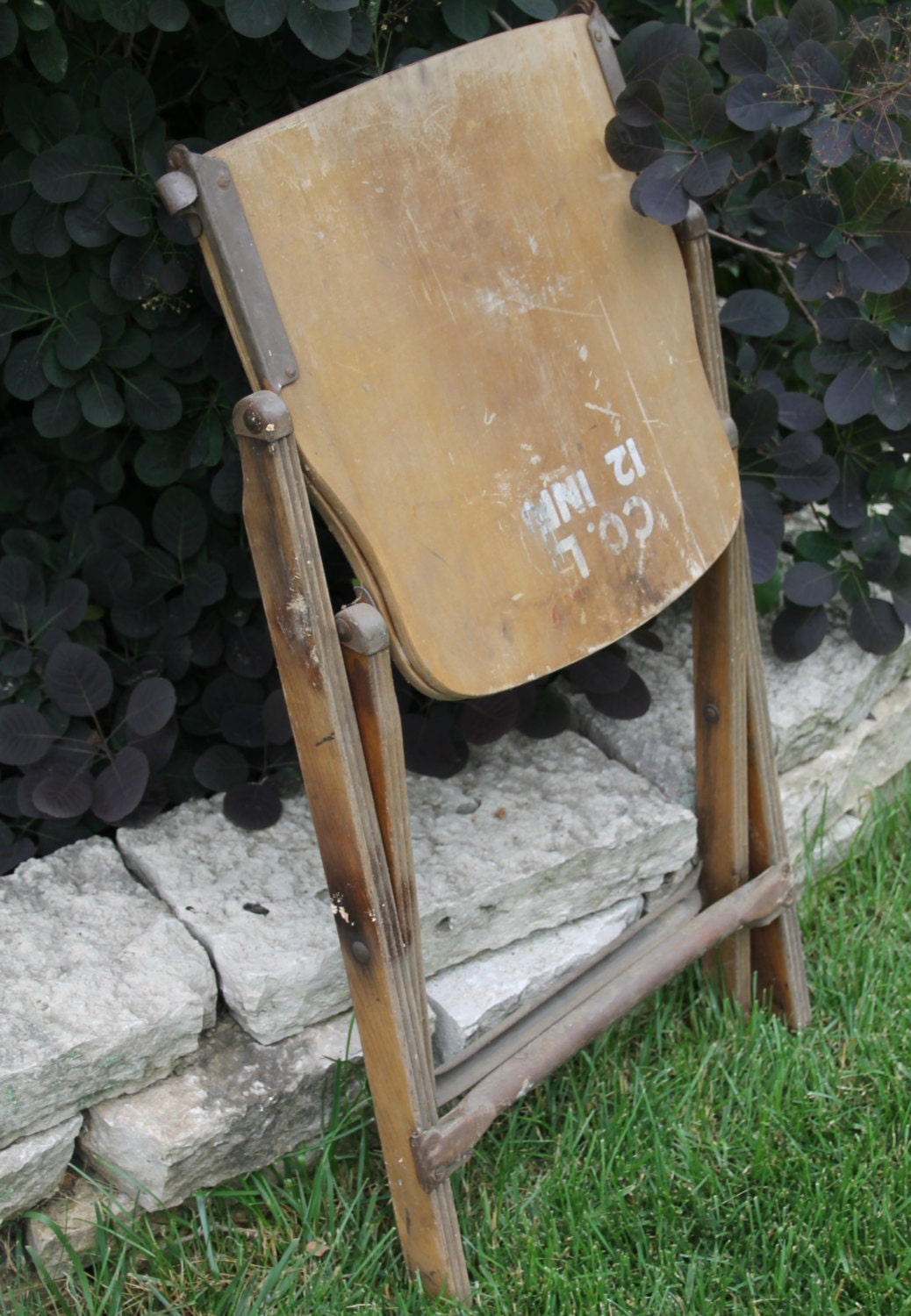 Vintage Wood Folding Chair Government Issue 1940s